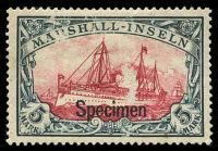 Lot 3889:1901 Mi #25s 5m Yacht, No Wmk, Overprinted 'Specimen', surface thin but scarce stamp.