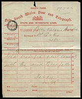 Lot 5741:1906 use of red New South Wales Post and Telegraph State and Interstate Lines form from Queen Victoria Market to Moss Vale cds My 17 1906 at top left.