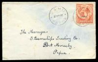 Lot 26466:1940 cover to Port Moresby with 2d Bird of Pardise tied by fine strike Daru 21 Mr 40 cds.