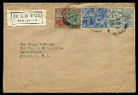 Lot 28309:1933 Air Mail cover to British Guiana with KGV 2d, 3d & 6d tied by Port of Spain double ring cancel JY 15 33.