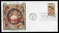 Lot 4760 [2 of 2]:1975 Christmas set tied to two individual Colarano Silk FDCs by Washington cds's OCT14 1975, unaddressed. (2)