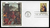 Lot 4760 [1 of 2]:1975 Christmas set tied to two individual Colarano Silk FDCs by Washington cds's OCT14 1975, unaddressed. (2)