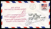Lot 25425:1976 Jet Star NASA Shuttle Training Aircraft Test flight cover signed by Astronaut Duane Graveline MD.