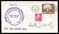 Lot 4775:1979 George C Marshall Space Flight Centre Engine Test cover with cachet signed by Astronaut Anthony Llewellyn.