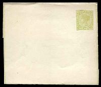 Lot 11461:1885 QV Stieg #E8 1d yellow-green on white paper with borders.