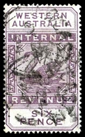 Lot 3510:1893 Long Types Wmk Crown/CA SG #F14 6d dull purple.