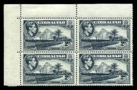 Lot 4104:1938-51 Pictorials SG #124 2d grey P14, top left-corner block of 4 with toned gum, Cat £112.