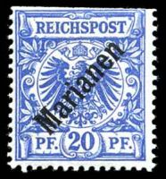 Lot 25692:1900 Overprints Mi #4II 20pf blue, perfs trimmed at top.