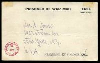 Lot 20851:1940s WWII POW Post Card used from Ottawa Internment Camp to USA with Canadian circular censor stamp in red at lower left and Examined by Censor handstamp in black at right.