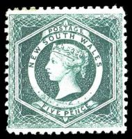 Lot 904:1882-97 Wmk 2nd Crown/NSW SG #233b 5d blue-green P11 with Wmk Inverted.