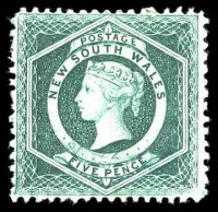 Lot 951:1882-97 Wmk 2nd Crown/NSW SG #233a 5d blue-green, P12.