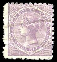 Lot 1192:1882-97 Wmk 2nd Crown/NSW SG #234 6d pale lilac P10, some creases.