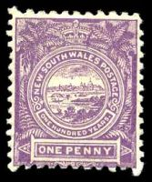 Lot 906:1888-89 Centenary Wmk 2nd Crown/NSW SG #253d 1d mauve, P11x12.