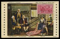 Lot 4499:1952 3c 200th Anniversary Birth of Betsy Ross tied to multi-coloured maxi card by Philadelphia cancel JAN 2 1952.