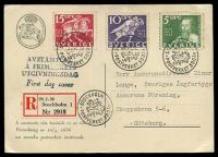 Lot 4469:1936 Swedish Post Office 300 Years 5ö, 10ö & 15ö tied to Registered Postal Museum Maxim card by Stockholm special cancel 20/2 1936, nice card.