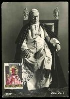 Lot 29317:1954 Pope Pius X SG #205 10L, tied to Maxi card by Vatican cds 20 9 54.