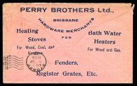 Lot 8002 [2 of 2]:1909 pink envelope with 2½d QV tied by Brisbane cds FE 26 09 with advert on reverse for PERRY BROTHERS Ltd Brisbane, nice commercial cover.