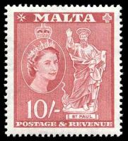 Lot 3951:1956-58 QEII Pictorials SG #281 10/- carmine-red.