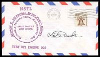 Lot 4540:1977 George C Marshall Space Flight Centre Space shuttle engine test cover with cachets signed by Astronaut Charlie Duke.
