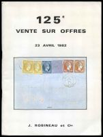 Lot 258:France: J Robineau 1982 April catalogue offering diverse range French postmarks, postal history and adhesives.