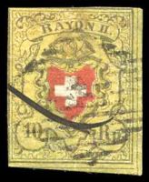 Lot 4470:1850 Rayon II SG #10 10Rp red, black & yellow, 3 good margins, Cat £150.