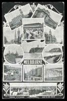 Lot 429:Australia - Victoria: Black & white Melbourne PPC with montage of views including, Panorama of Melbourne from the Fire Station, The Block, Port Melbourne, The Lawn Flemington, Queenscliff, Sorrento etc.