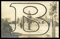 Lot 426:Australia - Victoria: Black & white PPC 'Melbourne St Kilda Road' with large tinsel B added.