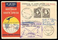 Lot 4800 [1 of 2]:1952 Australia - South Africa AAMC #1307 illustrated Qantas Boomerang cover.