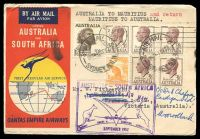 Lot 867 [1 of 2]:1952 Australia - Mauritius AAMC #1308a illustrated Qantas Boomerang cover.