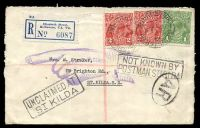 Lot 17463 [1 of 2]:St. Kilda (2): - boxed UNCLAIMED AT ST KILDA at left and boxed NOT KNOWN BY POSTMAN ST KILDA at right together with AR in oval for acknowledge receipt and violet Pointing Finger Return to Sender handstamp on registered cover to St Kilda with 1d green KGV and 2d red (2) tied by Registered Melbourne cds 7JL37, nice cover.  Renamed from Windsor PO 1/7/1858; closed 2/2/2001.