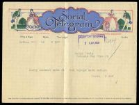Lot 4457:1939 use of illustrated Social Telegram from Melbourne to Port Melbourne 31 Jan 1939.