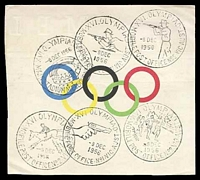 Lot 947:1956 Olympic Games Piece with Olympic Rings and 6 different Pictorial cancels all 8 DEC 1956, attractive.