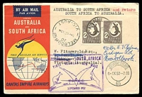 Lot 1138 [1 of 2]:1952 Australia - South Africa AAMC #1307 illustrated Qantas Boomerang cover.