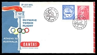 Lot 1140 [1 of 2]:1956 Greece - Australia AAMC #1362 illustrated Qantas Olympic Torch Flight cover, Olympic Main Stadium backstamp, addressed to NSW.