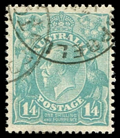 Lot 368:1/4d Greenish Blue - BW #130.