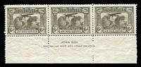 Lot 731:1931-38 Kingsford Smith Airmail BW #144zd 6d brown Ash Imprint strip of 3.