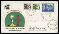 Lot 17584 [2 of 2]:1954 Tuberculosis set tied to two illustrated FDCs by Bruxelles cds 1 12 54.