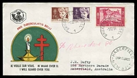 Lot 17584 [1 of 2]:1954 Tuberculosis set tied to two illustrated FDCs by Bruxelles cds 1 12 54.