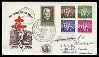 Lot 3147 [2 of 2]:1955 Tuberculosis set tied to two illustrated FDCs by special Bruxelles cds 26 XI 1955.