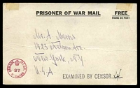 Lot 17620:1940s WWII POW Post Card used from Ottawa Internment Camp to USA with Canadian circular censor stamp in red at lower left and Examined by Censor handstamp in black at right.