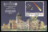 Lot 31:Australia - Exhibition: 1985 Stamp & Coin Show M/S for March Show with Norfolk Island Halleys Comet issue depicted over Exhibition Buildings.