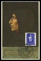 Lot 3849:1952 Girolamo Savonarola SG #822 25L tied to Maxim card by Ferrara special cancel 21 Sett 1952.