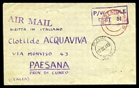 Lot 23949:1945 use of private lettersheet from POW in East Africa to Italy with fine double circle POW E.A.C. 12 III A 45 cds in black and red Postage Paid double circle cancel and backstamped P.O.W. 366 E.A.F. in violet.