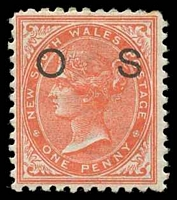 Lot 1078:1882-85 Wmk 2nd Crown/NSW Opt 'O1': SG #O20b 1d orange-red P11x12.