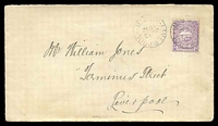 Lot 1215 [1 of 2]:1894 local cover to Liverpool with 1d Centennial tied by Liverpool cds JU 12 1894.