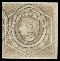 Lot 884:1854-59 Imperf Large Diadems Wmk Double-Lined Numeral SG #93 6d fawn four good margins Wmk 6 inverted.