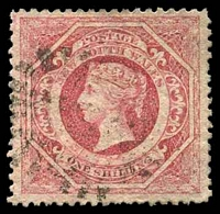 Lot 889:1860-72 Diadems Wmk Double-Lined Numeral Perf 13 SG #168 1/- rose-carmine