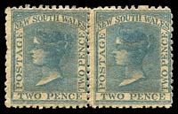 Lot 686:1862 DLR Wmk Double-Lined 2 Perf 13 SG #189 2d blue pair, toned gum.