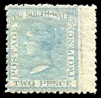 Lot 687:1863-69 DLR Wmk Single Lined 2 Perf 13 SG #192 2d pale blue.