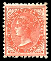 Lot 1189:1882-97 Wmk 2nd Crown/NSW SG #223f 1d scarlet P11x12.
